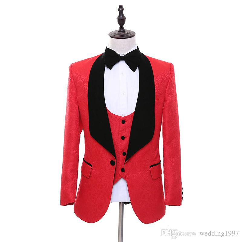 Red Men Suits for Wedding Black Shawl Lapel Groom Tuxedos Jacket Pants Vest Custom Made WH215
