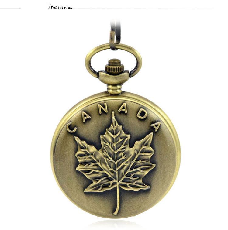 3c5ff0f14fe Compre Moda Casual Prata Quartzo Bolso Fob Relógios Colar Pingente Relogio  De Bolso Mulheres Relógio Bandeira Canadense Maple Presente Padrão De  Wonderliu