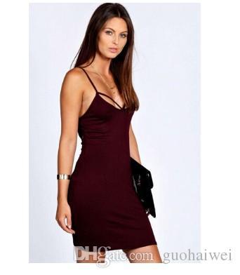 mode nouvelle arrivée vêtements pour femmes Sexy Lady O-cou solide Slim Fit Bodycon Tank Dress robe gris