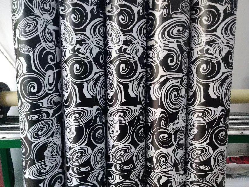 Впечатляющий белый черный камуфляж винил для обертывания автомобиля с воздушным пузырем бесплатно печатные / окрашенные камуфляж автомобиля упаковка наклейки 1.Крен 52x10m/20m/30m