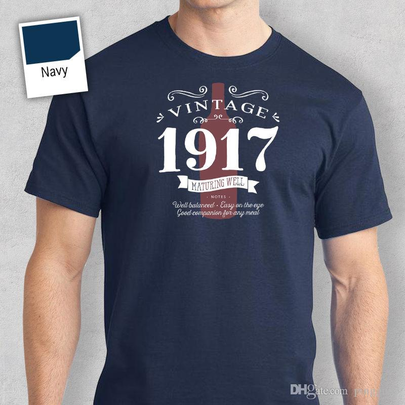 100th Birthday Gift Present Idea For Boys Dad Him Men T Shirt 100 Tee 1917 Short Sleeve Cotton Shirts Man Clothing Designers Business