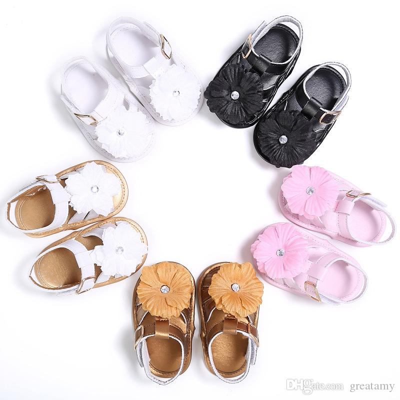 Fashion cute infant girls shoes beautiful summer girl baby sandals newborn flower girl baby princess shoes leather sandals