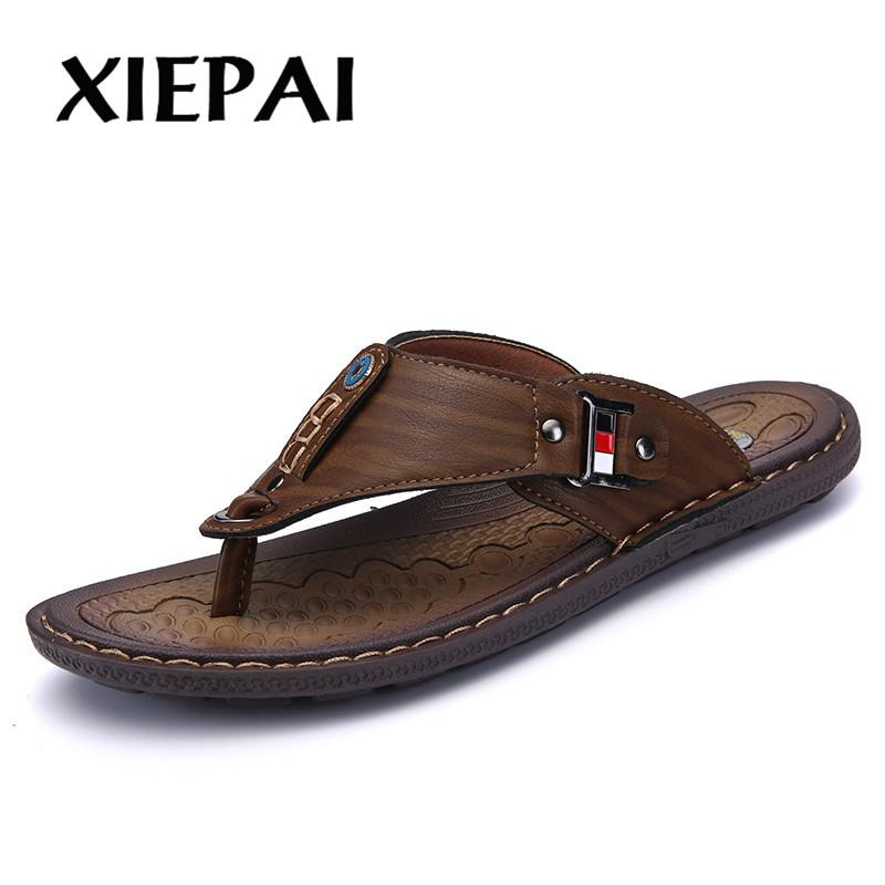364ad8d5fdfc Wholesale Brand Men Summer Leather Slippers Breathable Comfortable Slip On Beach  Shoes Casual Flip Flops White Shoes Womens Sandals From Shoes8800