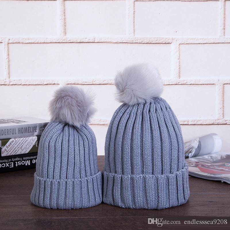 43f31b1c199 Women Beanie Hats Mom And Baby Winter Warm Hats Faux Fur Ball Pom Pom Cap  Kids Winter Knitted Wool Knitted Parent Child Caps Summer Hats Funny Hats  From ...