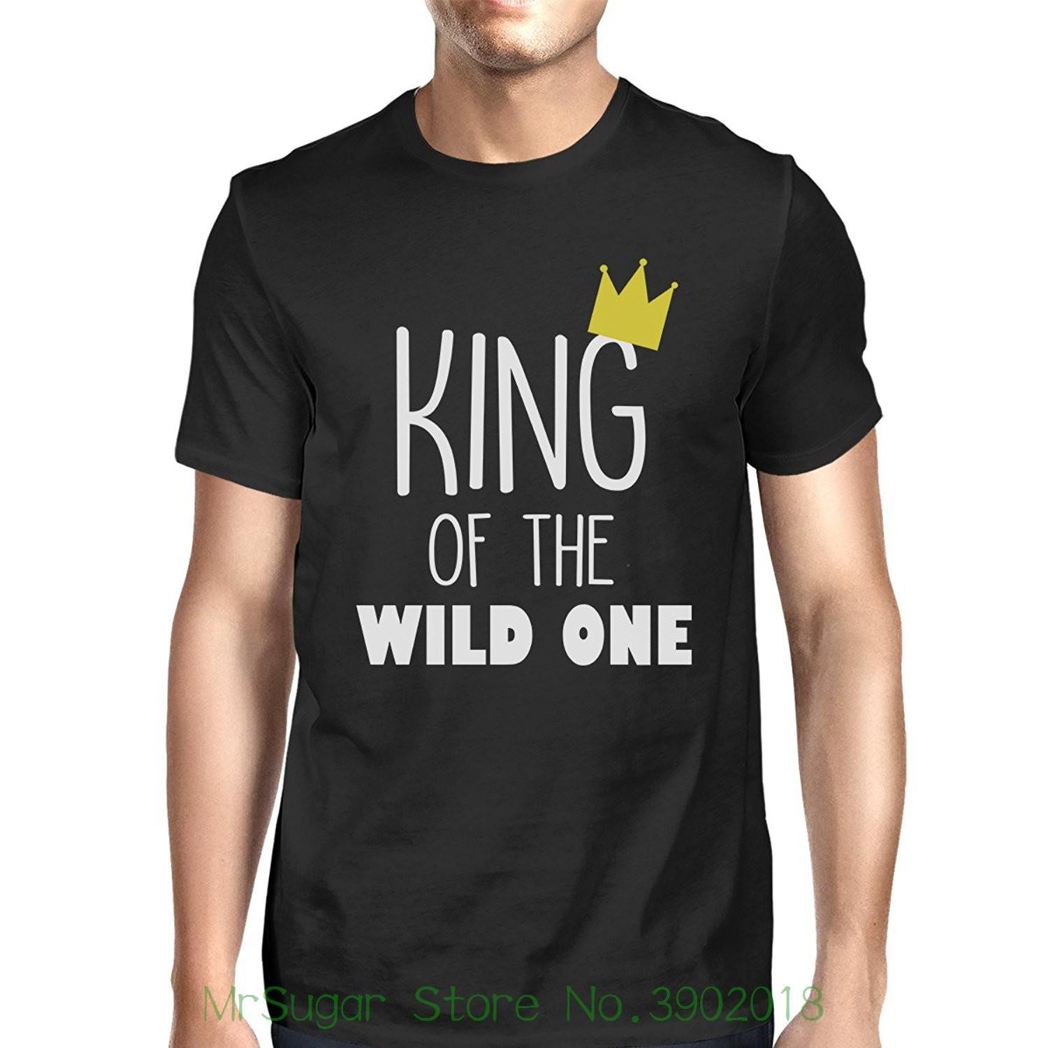 9127670575 365 Printing King Queen Wild One Crown Family Matching Clothes Baby Shower  Gift New Fashion Men Women's T Shirt