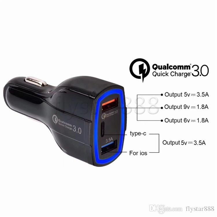 QC 3.0 Type c USb Quick Charge Car charger 35W 7A 3 Usb Ports Car chargers auto power adapter for iphone 8 x samsung ipad android phone gps
