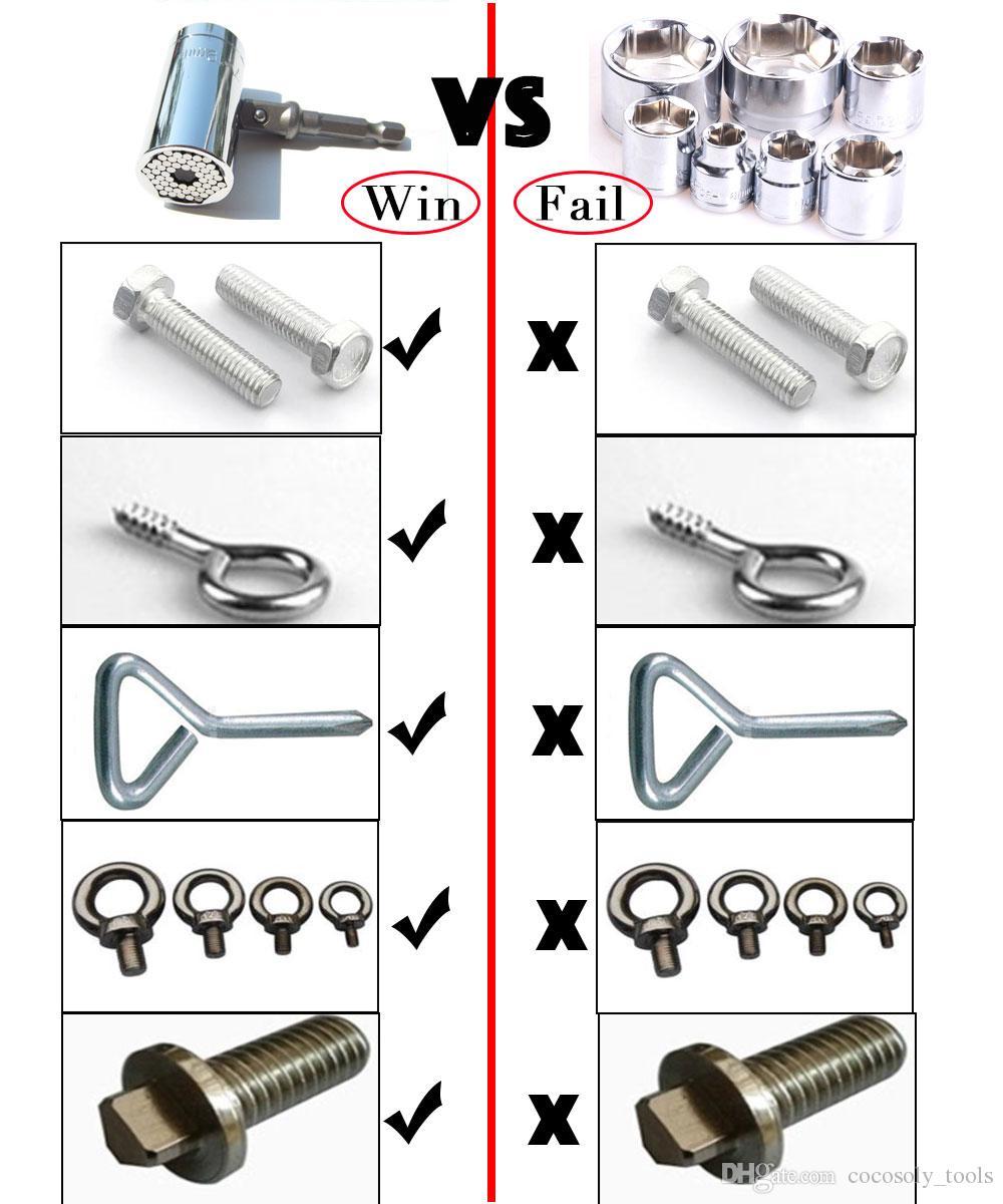 Magic Spanner Grip Multi Function Universal Ratchet Socket 7-19mm Power Drill Adapter Car Hand Tools Repair Kit