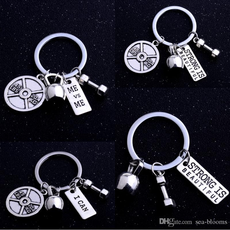 Vintage Silver Barbell Dumbbell Fitness Gym Keychain Key Finder With Strong Is Beautiful for Lovers' Men Key Ring Accessories 4 Styles D908Q