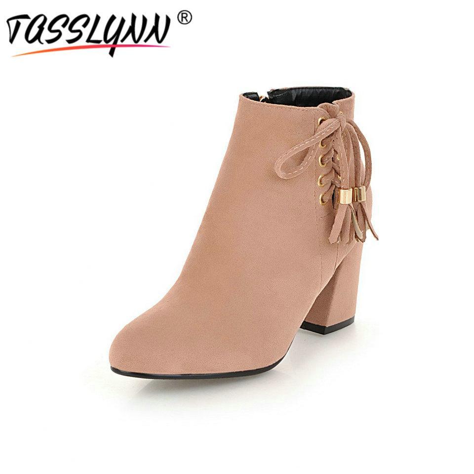 TASSLYNN 2018 Lace Up Donna Autumn Stivali Autumn Donna Winter scarpe Donna Pointed   1326d1