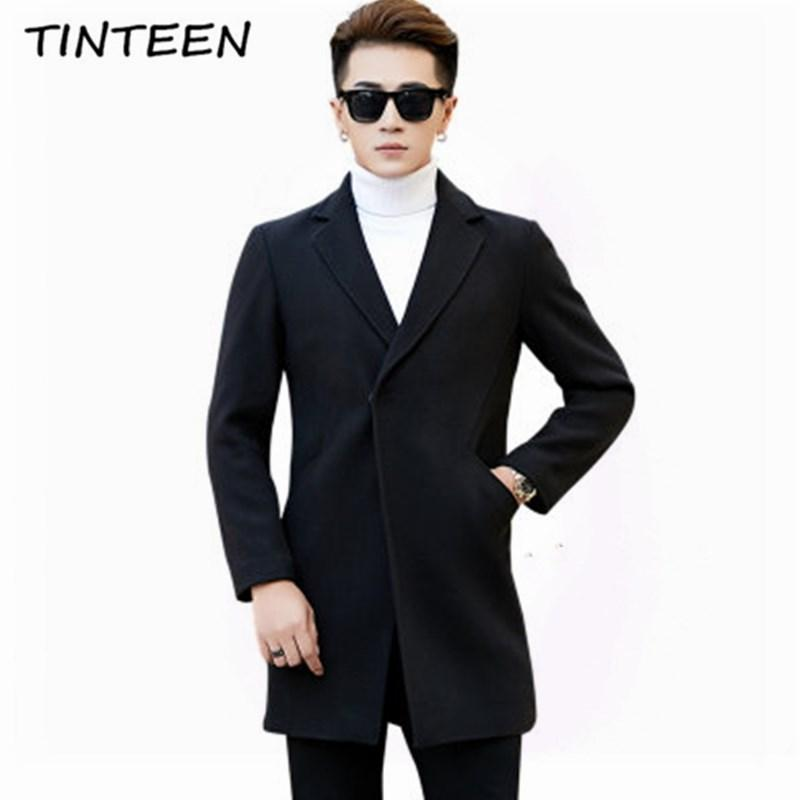 TINTEEN New Men's Thick Wool Trench Coat Men Long Casual Coats Lapel Collar 2018 Spring Autumn Overcoat Plus Size L-4XL GC466