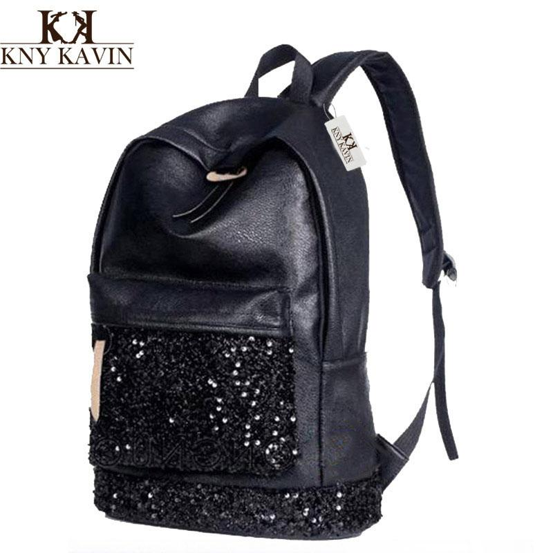 ba29f444c5d7 KNY KAVIN Women Backpack Big Capacity Embroidered Sequins Backpack ...