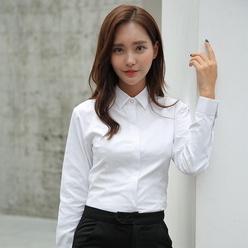 a526c0c0653 2019 Women Blouse Long Sleeve Shirts Solid Color Office Social Shirts White  Color Slim Fit Formal Blouses Tops Plus Size Blusas From Longan08