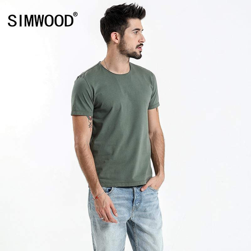f7232deb92831 20187 SIMWOOD 2018 Summer New Raw Crew Neckline T Shirt Men Slim Fit  Vintage Washed Look 100% Cotton Tshirt Plus Size Tee Tops 180136 Dirty T  Shirts Graphic ...