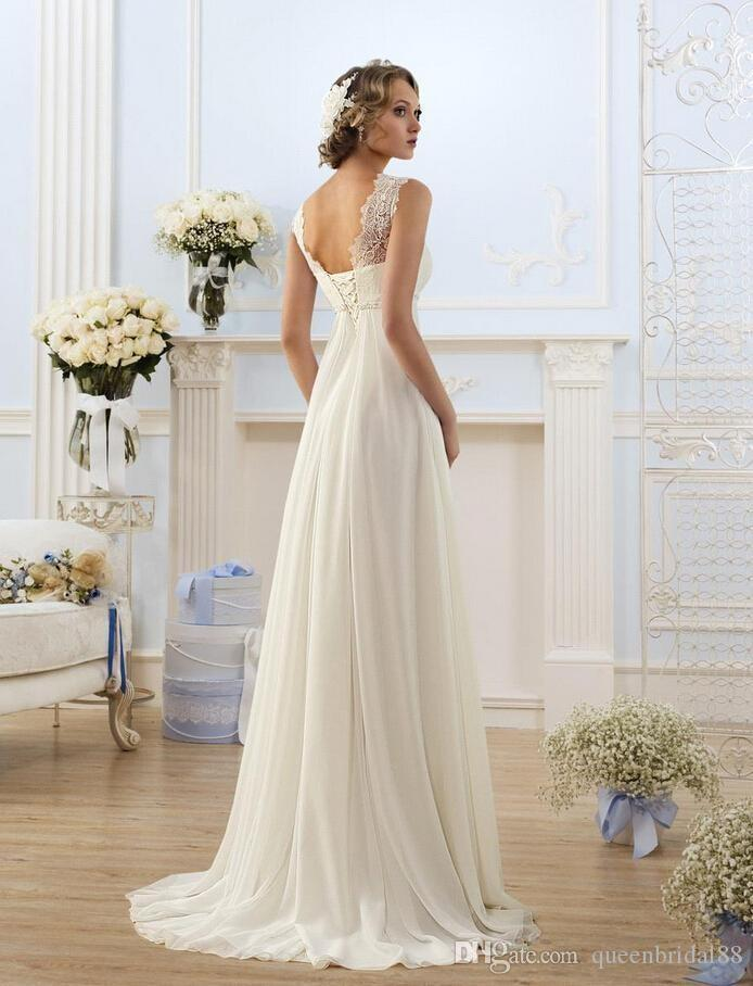 Cheapest 2019 Empire Waist Wedding Dresses Jewel Neck Lace Up Back Bridal Gowns with Sash Long Sweep Chiffon Vestidos De Novia