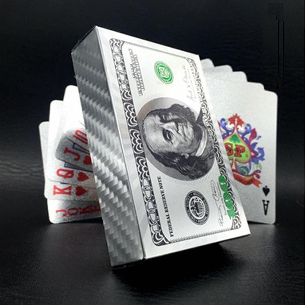 Creative Matte Waterproof Pure Silver Plastic Poker Table Game Cards PVC Dollar EURO Grid Printing Cards