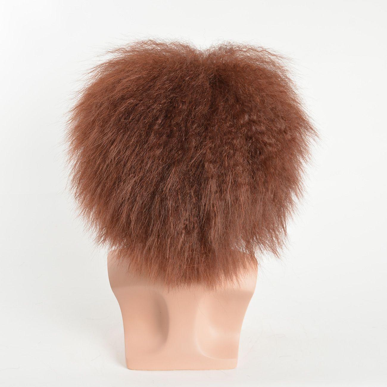 Perruques synthétiques courtes droites synthétiques pour hommes, naturel, noir, brun, couleur résistant à la chaleur, aucune dentelle, coiffure, avec frange pour homme