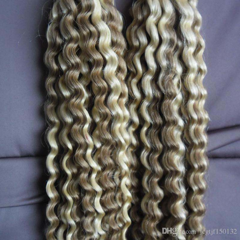 """10""""-26"""" Kinky Curly Human Pre Bonded Fusion Hair I Tip Stick Keratin Double Drawn Remy Hair Extension Color 18/613 200g /pack"""