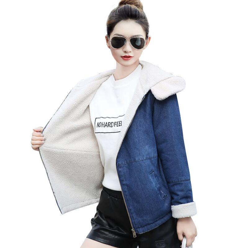 e01729ff4ecc 2018 New Fashion Winter Warm Wool Lining Hooded Zipper Jeans Womens Jackets  Women Denim Jacket Coat Vintage Chaqueta Mujer Cotton Jacket Leather Jacket  With ...