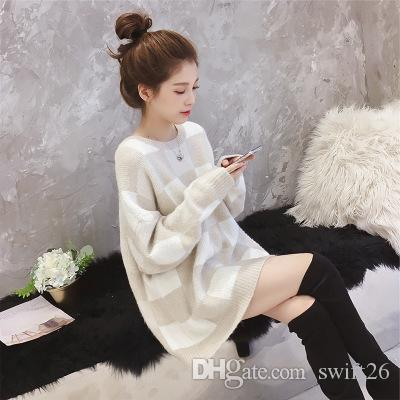 Han edition of new fund of 2018 autumn colours grid long-sleeved round collar loose sweater coat pullovers female students