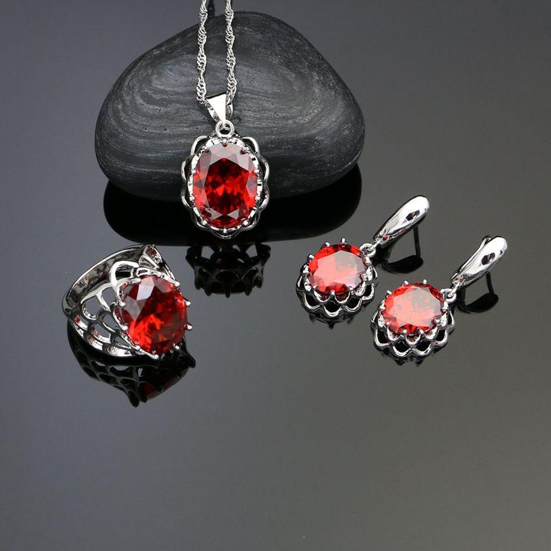 e7018f6fc 2019 925 Sterling Silver Jewelry Sets Red Stone For Women Earrings Ring  Necklace Pendant From Navyjewelry, $34.57 | DHgate.Com