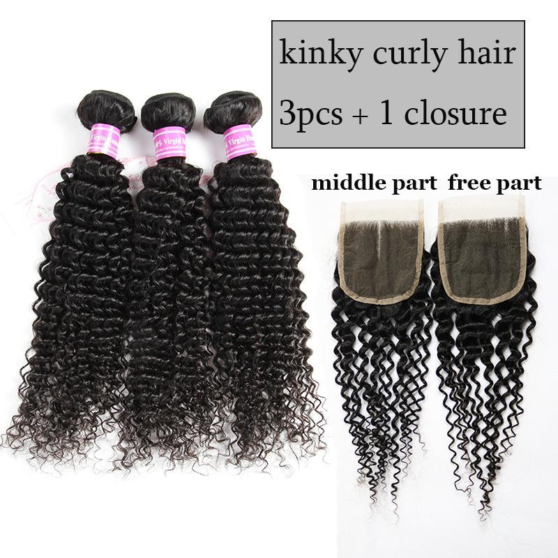 Aliyou Brazilian Body Wave Kinky Curly Human Hair Lace Closure Peruvian Hair Bundles with Closure Straight Hair Water Deep Wave with Closure
