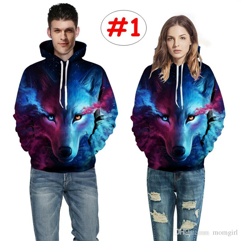 16405f7366ae 2019 Adult 3D Wolf Print Hoodies Men Women Red Blue Yellow Tops Spring  Autumn Long Sleeve Pullover 6size From Momgirl
