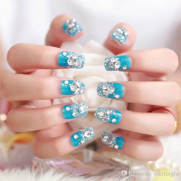 Blue Flicker Powder False Nails Bride Manicure Full Nail Tips Patch ...