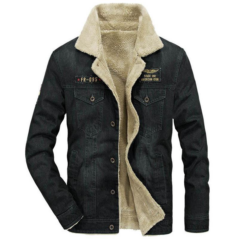 new style 4b940 e4c95 Marke Jacke Mann Winter Jeansjacke Männer dicke warme Wolle Liner Herren  Wintermantel Umlegekragen Single Breasted Jeans Jacke