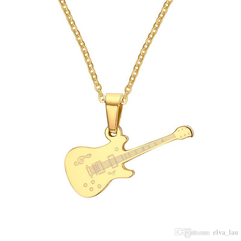 gold electric guitar pendant charm white necklace