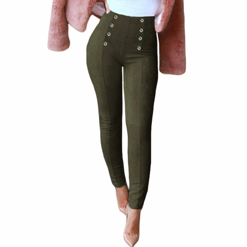 385d77f76ee4 Mujeres sexy pantalones delgados de gamuza sintética Cremallera lateral  pantalones elegantes de cintura alta Pantalones pitillo de cuero lápiz ...