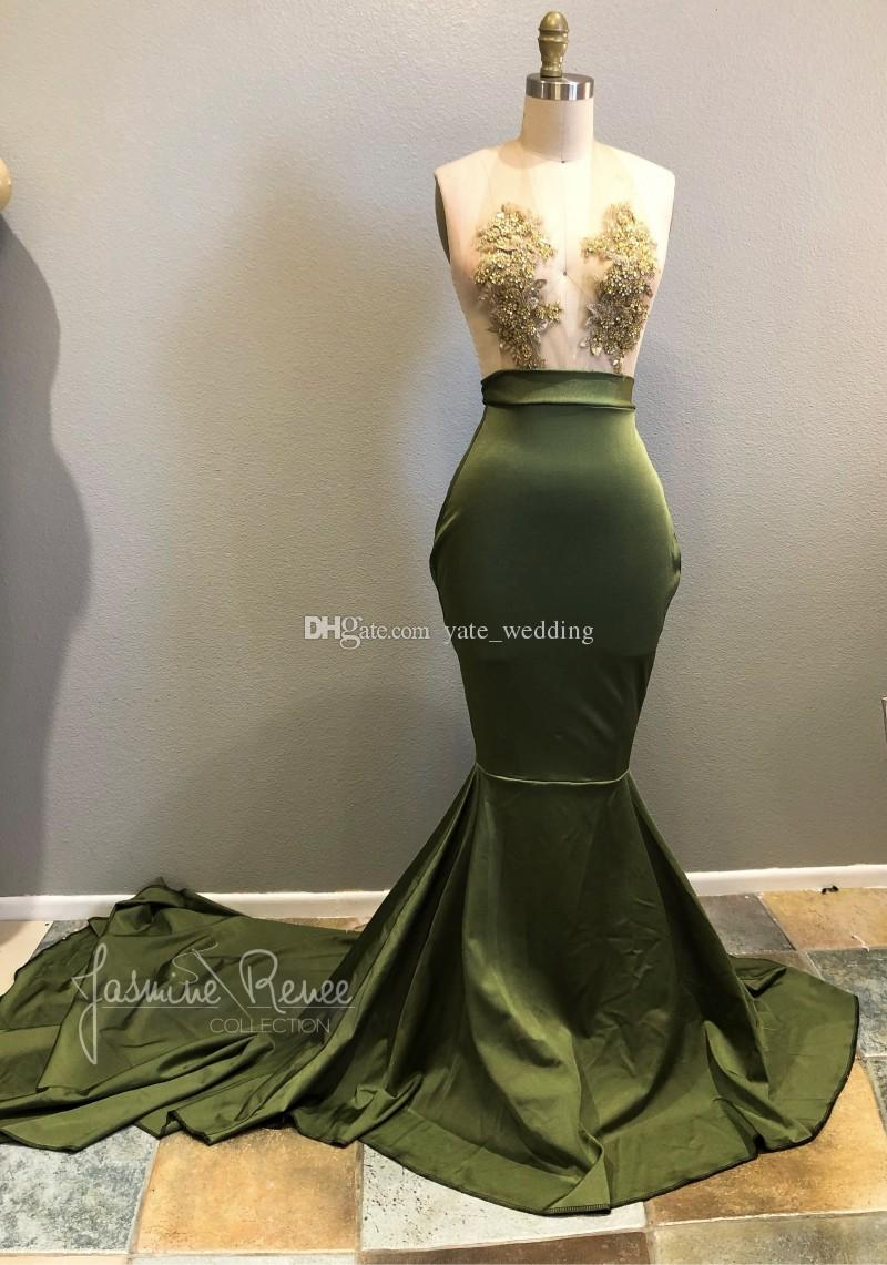 Sirena verde oliva Vestidos de baile con cuello en V Ilusión Blusa Apliques Abalorios Satén Vestidos de noche atractivos Vestidos de fiesta Tren de barrido
