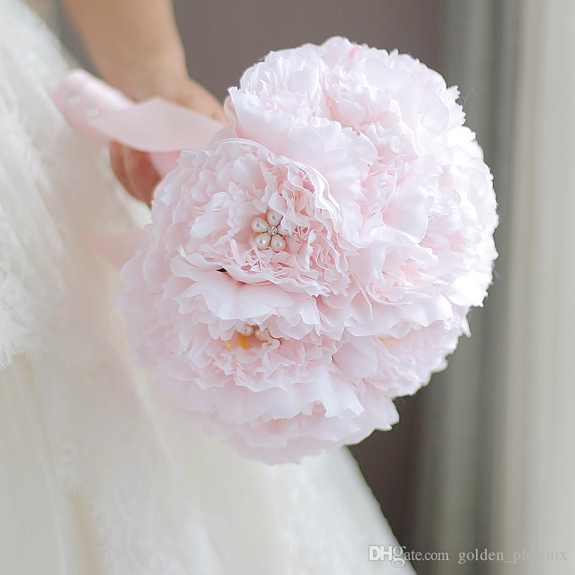 High-end custom bridal bouquet wedding bouquet groom boutonniere wrist flower pink peony