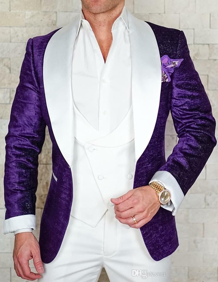New Design One Button Purple groom uxedos Shawl Lapel men Best Man Suit Mens Wedding Suits Bridegroom Jacket+Pants+Vest+Tie NO:27
