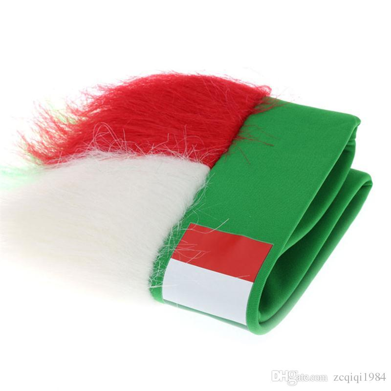 Vendita calda Bandiera nazionale Copricapo Coppa del mondo Fans Cappelli parrucca unisex colore Ployester da calcio