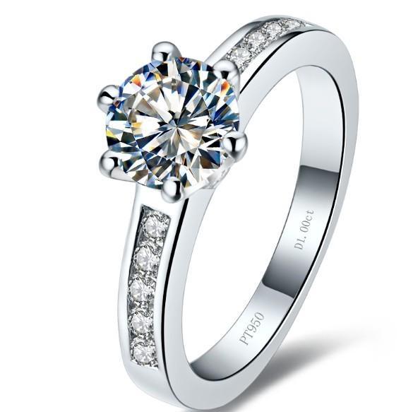 Trasporto di goccia 0,6 ct wedding band argento massiccio bianco placcato oro anelli SONA sintetico anelli di diamanti la sposa senza dissolvenza