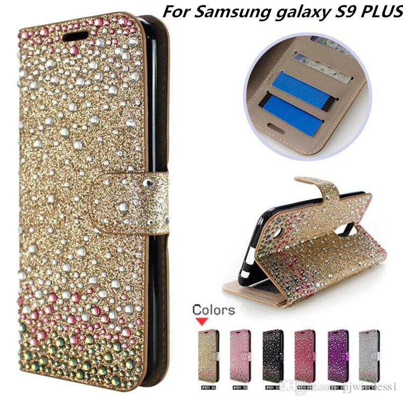 new styles 6887d 52b32 Wallet Case Diamond Case For Samsung galaxy S9 PLUS For Samsung galaxy J2  Pro 2018 Bling Case Leather Card Slot opp bags C