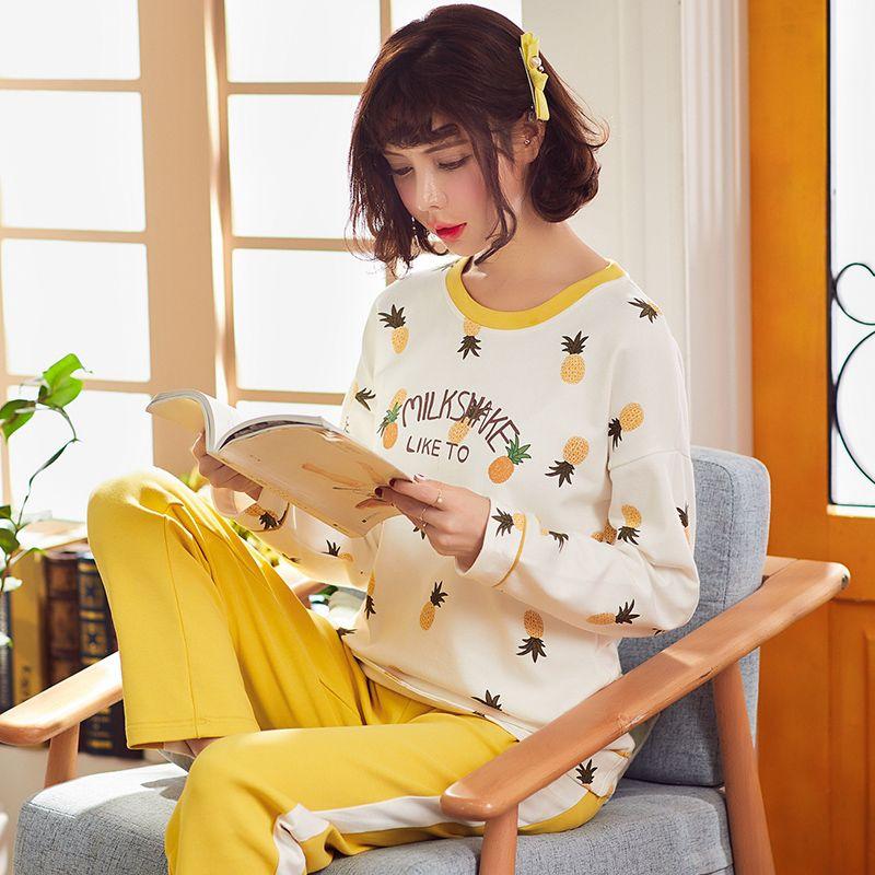 e37e94ad54 Young Girl Sleepwear Sets Leisure Clothes Autumn Cotton Long Sleeved ...