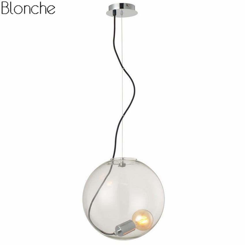 Modern Clear Glass Ball Pendant Lights Led Hanglamp Globe Light For