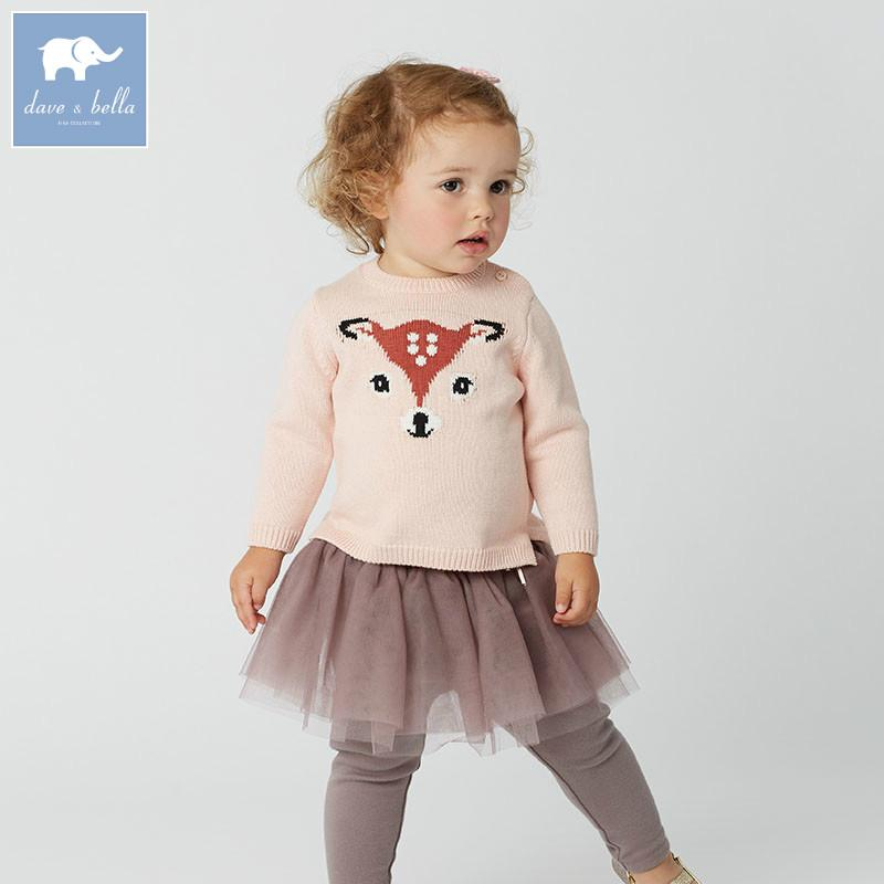 Db5903 Dave Bella Autumn Infant Baby Girls Wool Pullover Tops Kids