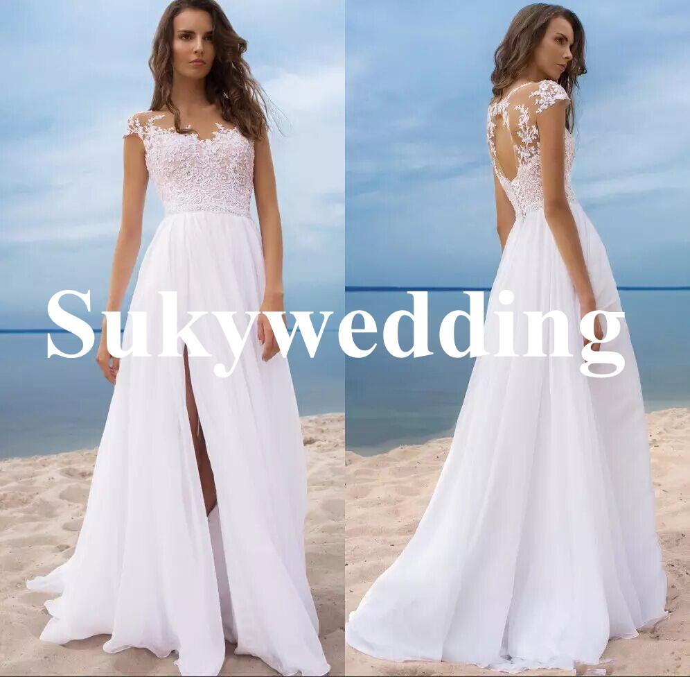Sexy White Lace Wedding Dresses Side Split Sheer Jewel Neck Appliques Keyhole Back Bridal Gowns Summer Beach Wedding Gowns