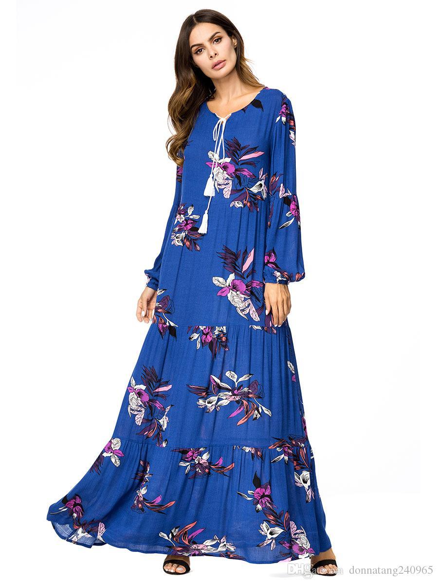 846689e6d 2019 2018 Ramadan Muslim Maxi Abaya Floral Printing Long Sleeves ...