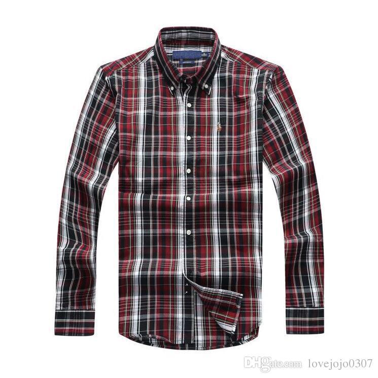 POLO office shirt men printed shirt long sleeve plaid polo slim fit shirts stand collar mens fashion dress shirt men clothes 2018 D25