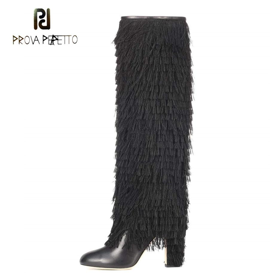 3459fda302f4a Prova Perfetto Fashion Runway Style Fringe Knee High Boots Women Pointed  Toe High Heel Black Genuine Leather Long Boots Females Fur Boots Black Knee  High ...