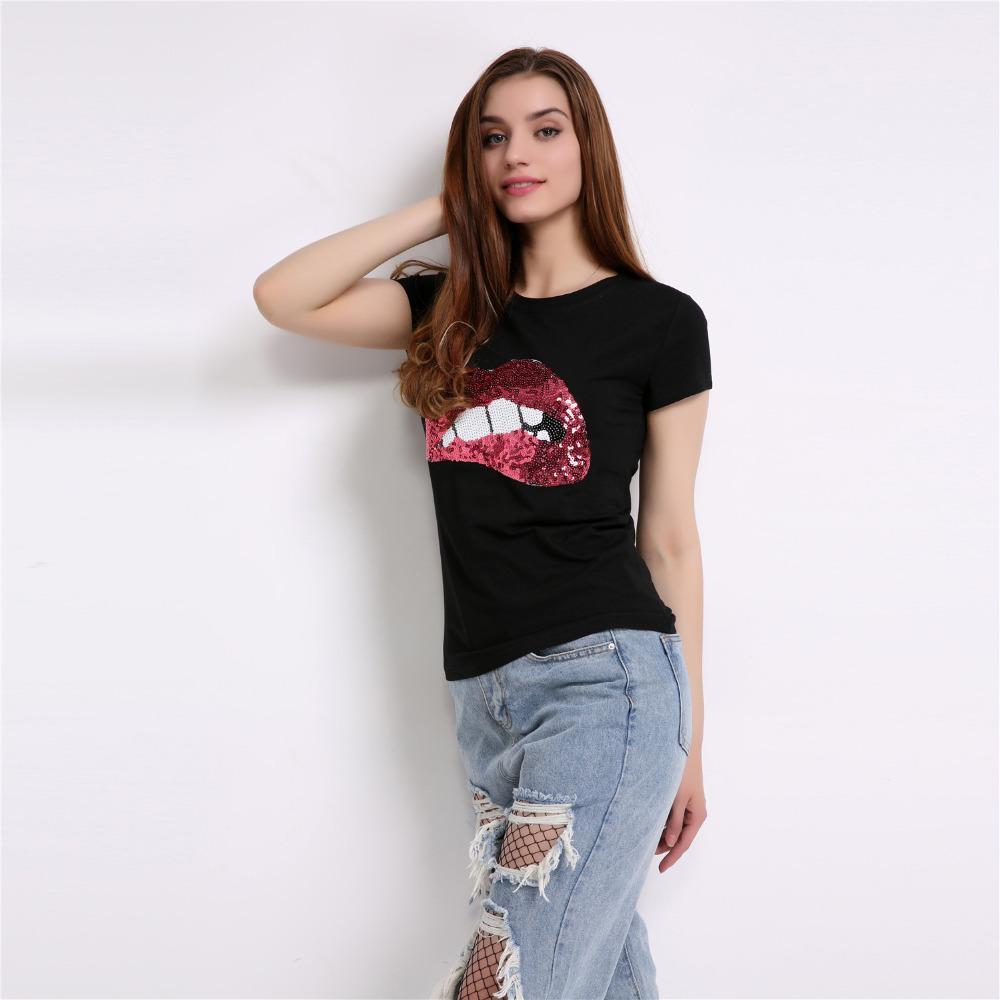 b341521d4 Compre Camisetas De Moda Para Mujer De Verano De Manga Corta De Lentejuelas  Labios Rojos Camiseta Para Mujer Fitness Harajuku Camiseta Mujeres Top Tees  ...