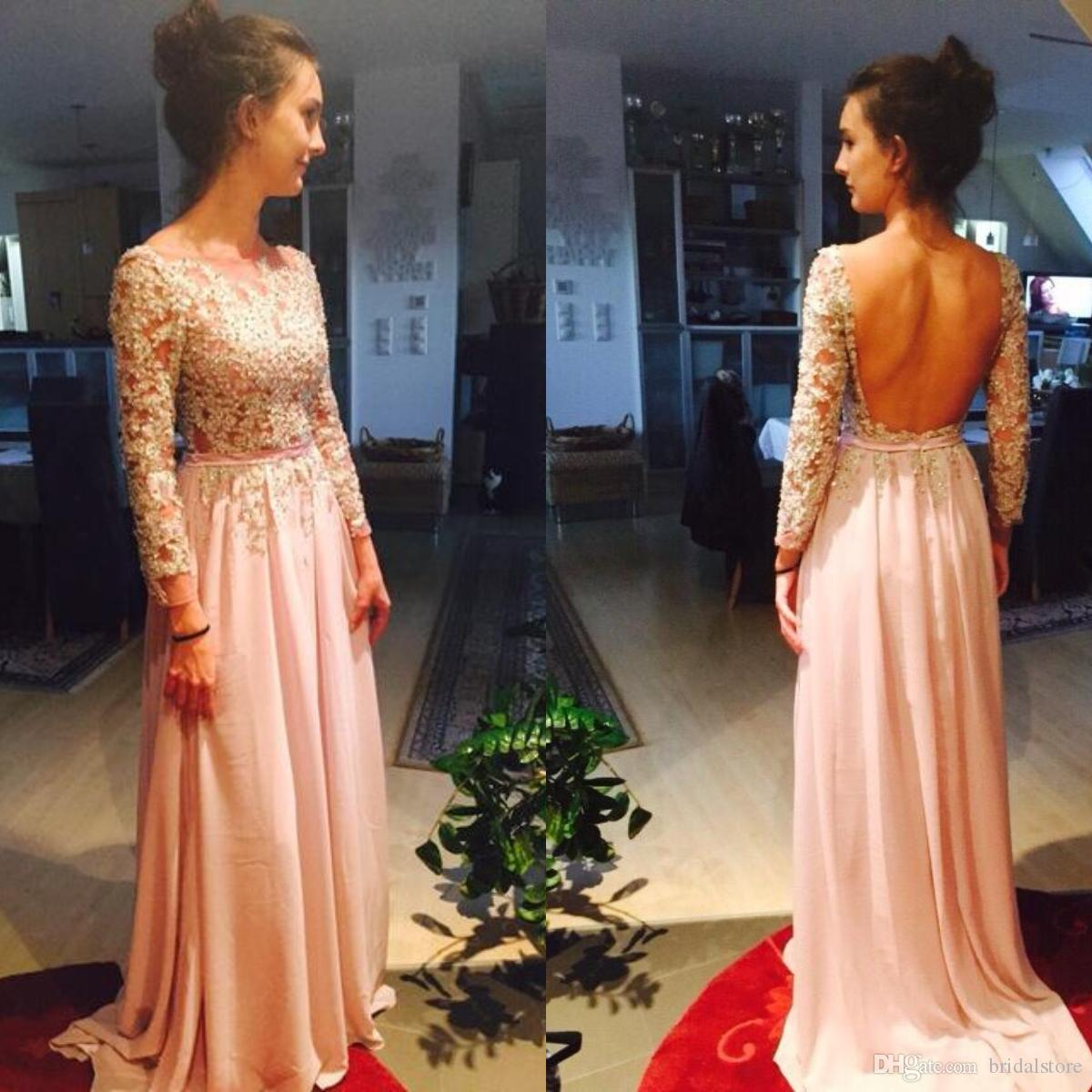 8aa85d876ad0 Elie Saab Dusty Pink Prom Dresses Long Sexy Backless Floor Length Chiffon Evening  Gowns Lebanon Illusion Top Lace Robes De Soirée Rouge Cheapest Prom ...