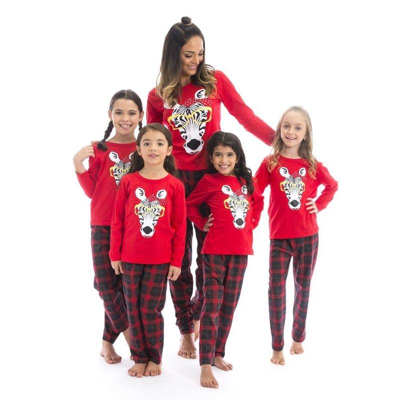 721aec57bf Christmas Xmas Kids Adults Family Pajama Sets Giraffe Sleepwear ...