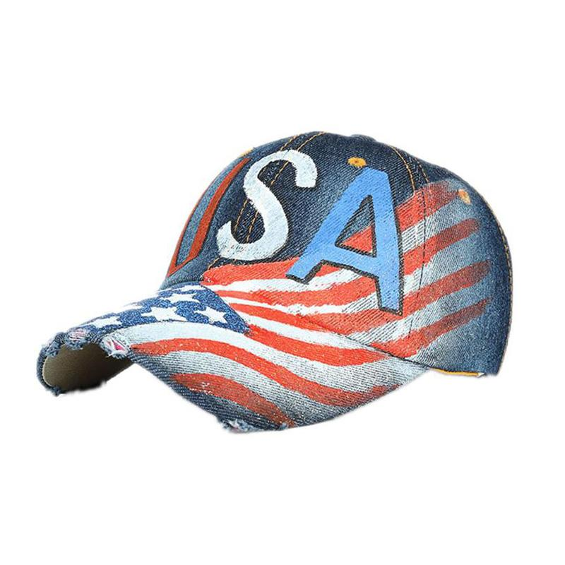 96888a46360 Denim Solid Blue NEW American Flag Baseball Hat Popular Cotton Baseball Cap  Snapback Cowboy Hat Adjustable Del LREW 47 Brand Hats Vintage Baseball Caps  From ...