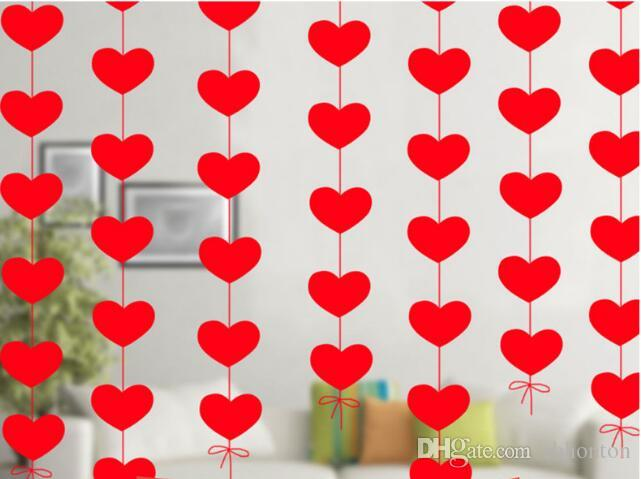 Wholesale Hearts Curtain wedding decorations christmas decorations and party DIY one piece 16 hearts with 2-3M red line WT071.