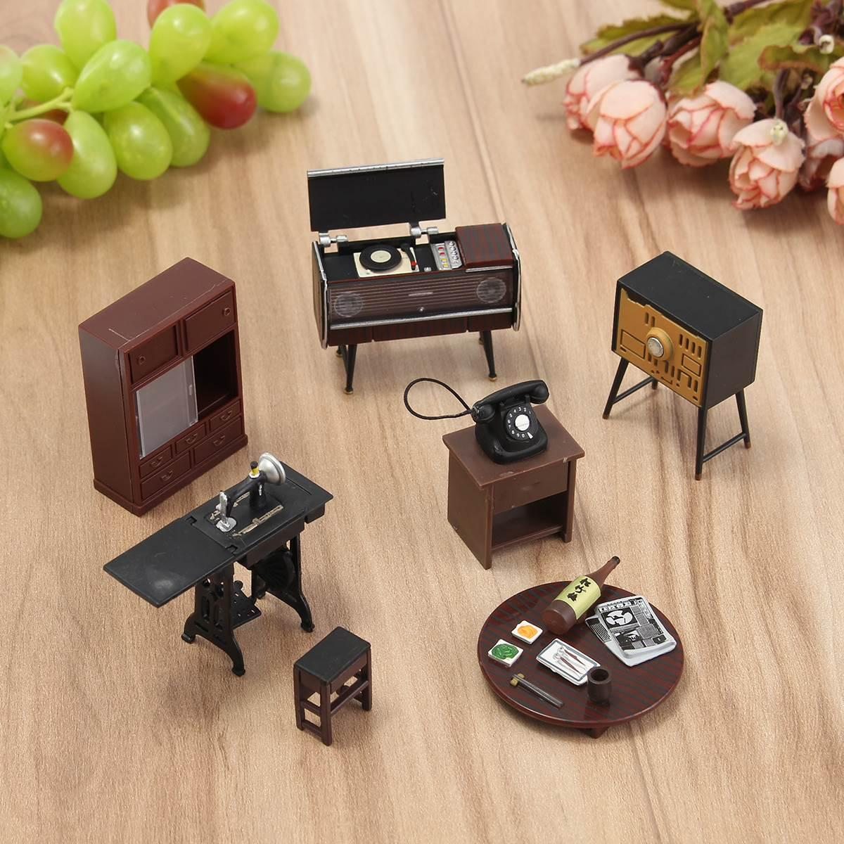 mini furniture sets. Wholesale-Wooden DIY 1:12 Simulation Miniature Dollhouse Furniture Mini Set For Children Dolls House Accessories Doll Sets O