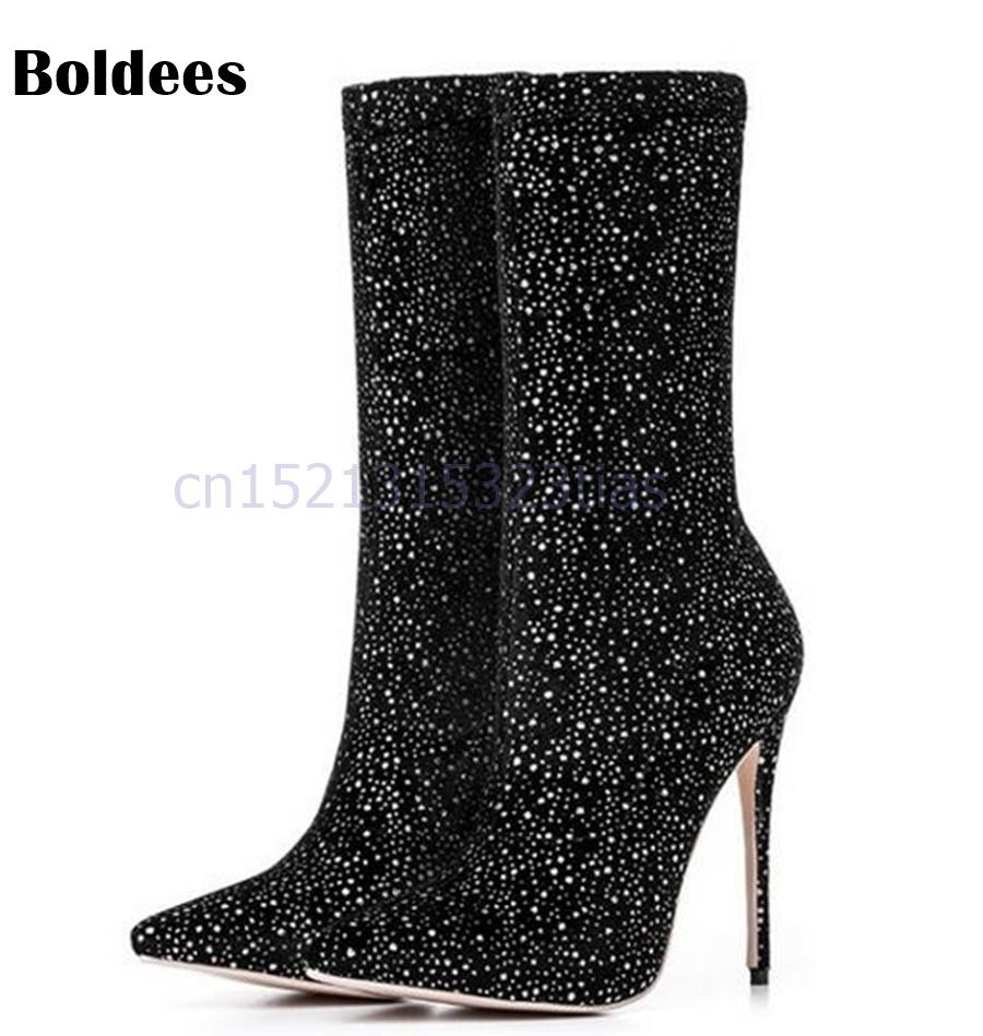 bc9b52b1d26b Sexy High Heel Sock Boots Women Mid Calf Boots Pointed Toe Sequined Stretch  Newest Fashion Short Sporto Boots Boys Boots From Faaa